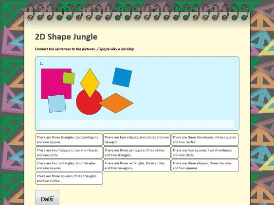 2D Shape Jungle - interaktivní pracovní list